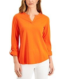 Cotton Split-Neck Top, Created for Macy's