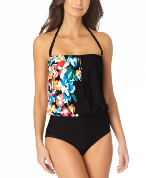 Printed Blouson One-Piece Swimsuit Women's Swimsuit