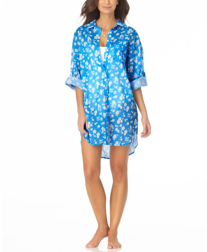 Anne Cole Floral-Print Boyfriend Shirt Cover-Up & Reviews - Swimsuits & Cover-Ups - Women - Macy's