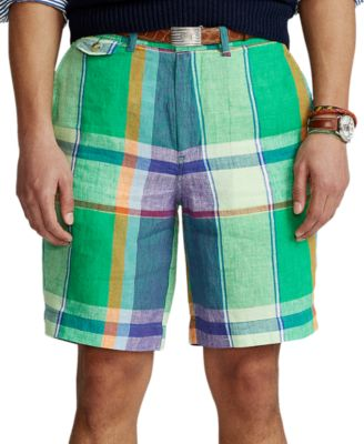 폴로 랄프로렌 Polo Ralph Lauren Mens 9-Inch Classic-Fit Linen Madras Shorts,Patchwork Madras