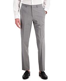 Men's Gray Textured Modern-Fit Wool Suit Separate Pants