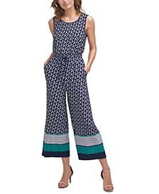Petite Printed Drawstring-Waist Jumpsuit