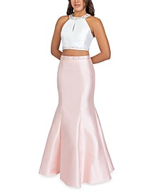 Juniors' 2-Pc. Embellished Halter Gown