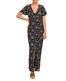 Button-Up Floral-Print Maxi Dress