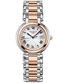 Women's Swiss PrimaLuna 18k Gold & Stainless Steel Bracelet Watch 30mm