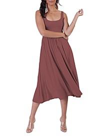 Banded-Waist Midi Dress
