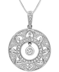 "Diamond Vintage-Look Filigree Disc 18"" Pendant Necklace (1/3 ct. t.w.) in Sterling Silver"