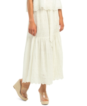 Embroidered Eyelet Tiered Floral A-Line Skirt