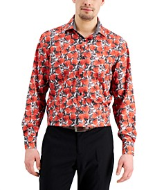 Men's Slim-Fit Non-Iron Performance Stretch Floral-Print Dot Dress Shirt with Pleated Face Mask