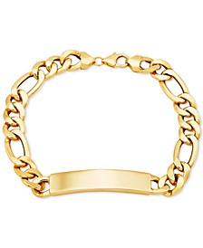 Men's ID Plate Figaro Link Bracelet in 10k Gold