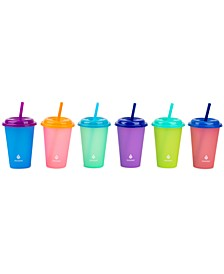 Kids Cold-Activated Color Changing 12-Oz. Tumblers with Lids & Straws, Set of 6