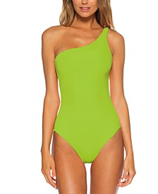 Fine Line Rib Asymmetrical One-Piece Swimsuit