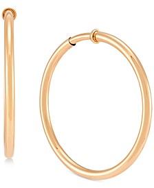 """Pressure Closure Clip-On Medium Hoop Earrings in 14k Gold, 1.57"""""""