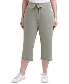 Plus Size Raw Hem Cropped Pants