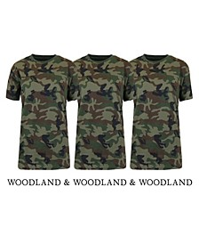 Women's Loose Fit Short Sleeve Crew Neck Camo Printed Tee, Pack of 3