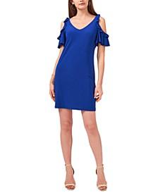 Petite Cold-Shoulder Flutter-Sleeve Dress