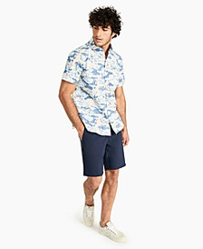 Men's Cooper Classic-Fit Stretch Camouflage Grid Twill Shirt, Created for Macy's