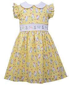Toddler Girls Flutter Sleeved Bunny Print Dress