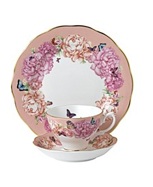 "Miranda Kerr for Friendship 3pc Set Teacup, Saucer & Plate 8"" Hope, Coral"