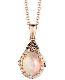 "Chocolatier® Neopolitan Opal (5/8 ct. t.w.) & Diamond (1/6 ct. t.w.) 18"" Pendant Necklace in 14k Rose Gold"