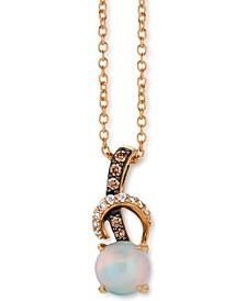 "Chocolatier® Neopolitan Opal™ (3/8 ct. t.w.) & Diamond (1/10 ct. t.w.) 18"" Pendant Necklace in 14k Rose Gold"