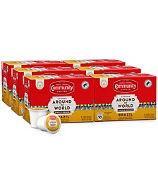 Coffees Around the World Brazil Medium-Dark Roast Single Serve Pods, Keurig K-Cup Brewer Compatible, 60 Ct