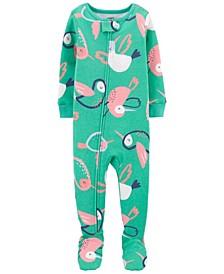 Toddler Girls Hummingbird Cotton Footie Pajamas
