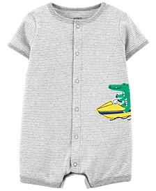 Baby Boys Alligator Snap-Front Romper