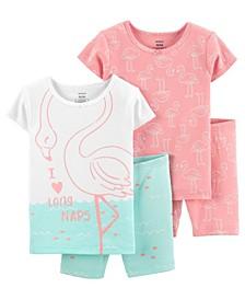 Baby Girls Flamingo Cotton Pajamas, 4 Pieces