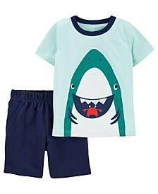 Toddler Boys Shark Tee and Short Set, 2 Pieces
