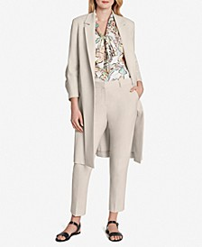 ASL Open-Front Jacket, Tie-Neck Blouse & Bi-Stretch Ankle Pants