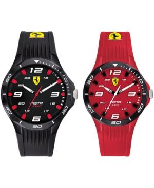 Men's Pista Black & Red Silicone Strap Watch 38mm & 44mm Gift Set