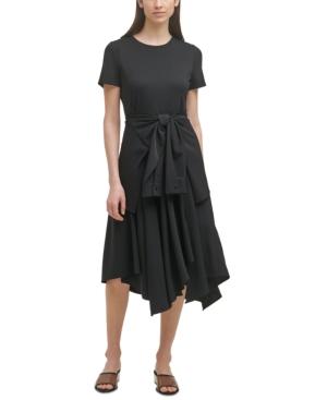 Karl Lagerfeld Dresses TIE-WAIST HANDKERCHIEF-HEM DRESS