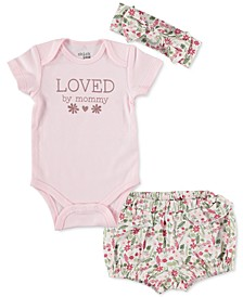 Baby Girls 3-Pc. Loved By Mommy Cotton Bodysuit, Floral-Print Shorts & Headband Set