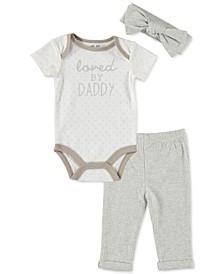 Baby Girls 3-Pc. Cotton Bodysuit, Pants & Headband Set