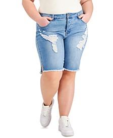 Trendy Plus Size Frayed Bermuda Jean Shorts