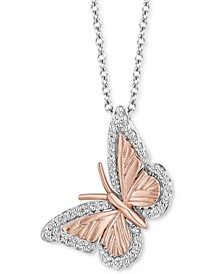 """Diamond Butterfly Pendant Necklace (1/7 ct. t.w.) in Sterling Silver & 14k Rose Gold, 16"""" + 2"""" extender"""
