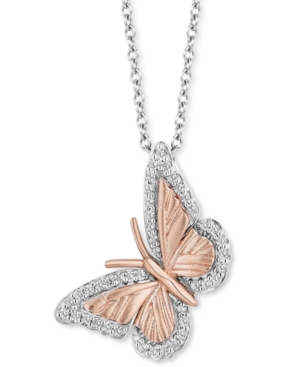 Diamond Butterfly Pendant Necklace (1/7 ct. t.w.) in Sterling Silver & 14k Rose Gold