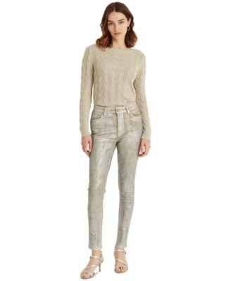 로렌 랄프로렌 Lauren Ralph Lauren High-Rise Skinny Ankle Jeans,Artisanal Silver Wash
