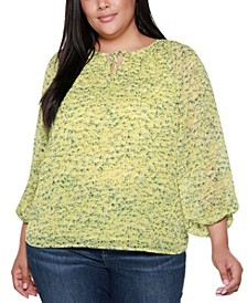 Black Label Plus Size Floral Printed Tie Neck Top with Blouson Sleeves
