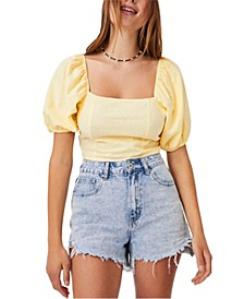 Women's Evie Balloon Sleeve Cropped Blouse