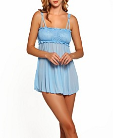 Women's Sakura Double Strap Lace and Mesh Babydoll and Panty Set, 2 Piece