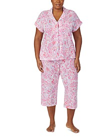 Plus Size Printed Capri Pants Pajamas Set