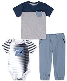 Baby Boys 3-Pc. T-Shirt, Bodysuit & Chambray Pull-On Pants Set