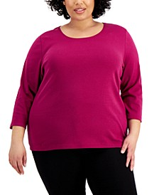 Plus Size Cotton Scoop-Neck Top, Created for Macy's
