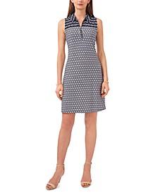 Petite Printed Zip-Neck Dress