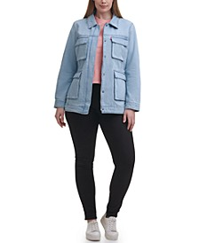 Trendy Plus Size Mid-Weight Cotton Belted Shirt Jacket