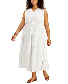 Plus Size Tiered Cotton Maxi Dress, Created for Macy's