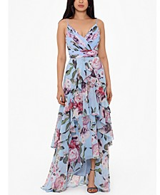 Floral Ruffled Gown