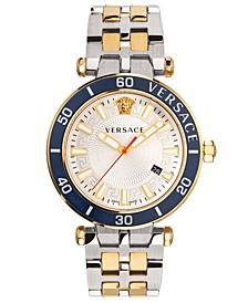 Men's Swiss Greca Sport Two-Tone Stainless Steel Bracelet Watch 43mm